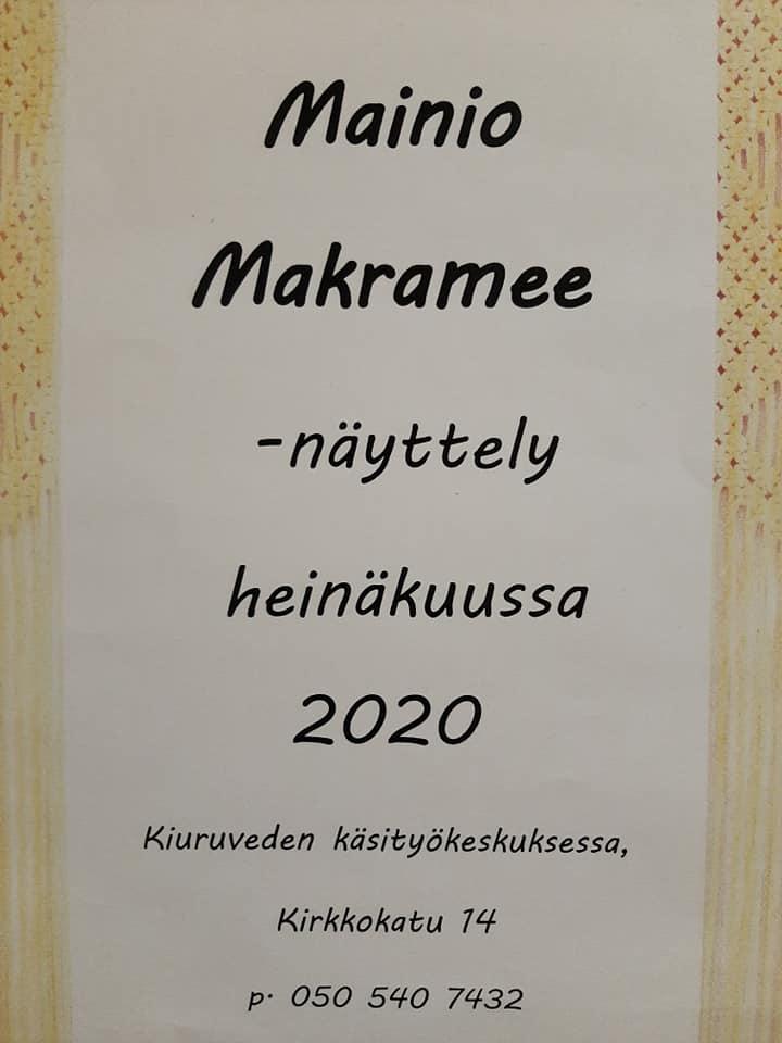 Tervetuloa Mainio Makramee -näyttelyyn!  Käsityökeskus avoinna ma-pe klo 9-17.